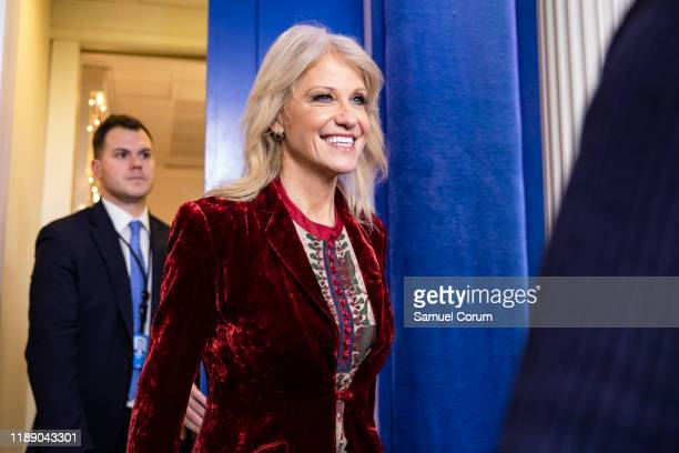 Kellyanne Conway, Counselor to the President of the United States and White House Advisor, arrives for an on-camera interview at the White House on...