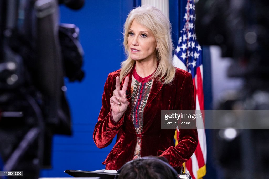 White House Advisor Kellyanne Conway Speaks To The Media At The White House : News Photo