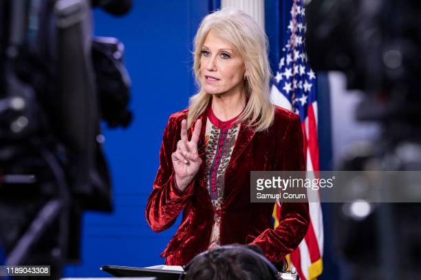 Kellyanne Conway, Counselor to the President of the United States and White House Advisor, speaks during an on-camera interview at the White House on...