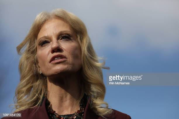 Kellyanne Conway counselor to US President Donald Trump speaks to the press outside the West Wing of the White House January 8 2019 in Washington DC...
