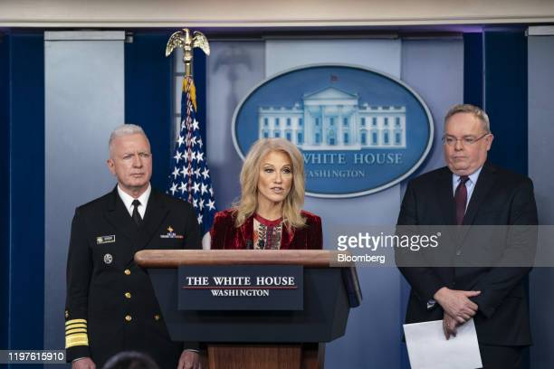 Kellyanne Conway senior adviser to US President Donald Trump speaks during a news conference in the briefing room of the White House in Washington DC...