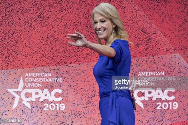 Kellyanne Conway senior advisor to US President Donald Trump arrives to speak during the Conservative Political Action Conference in National Harbor...
