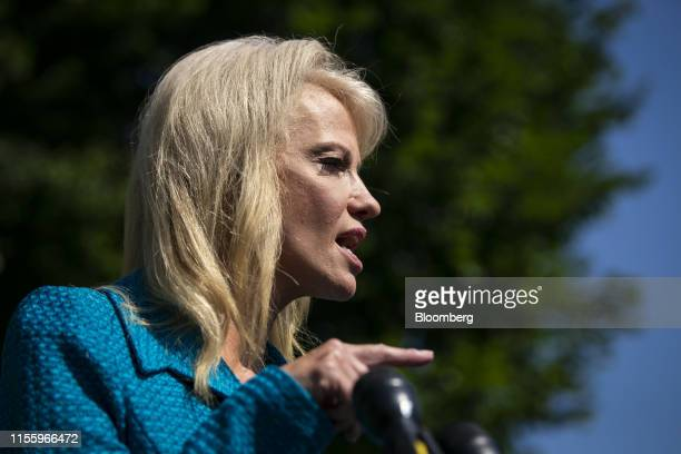 Kellyanne Conway senior advisor to US President Donald Trump speaks to members of the media outside the White House in Washington DC US on Tuesday...