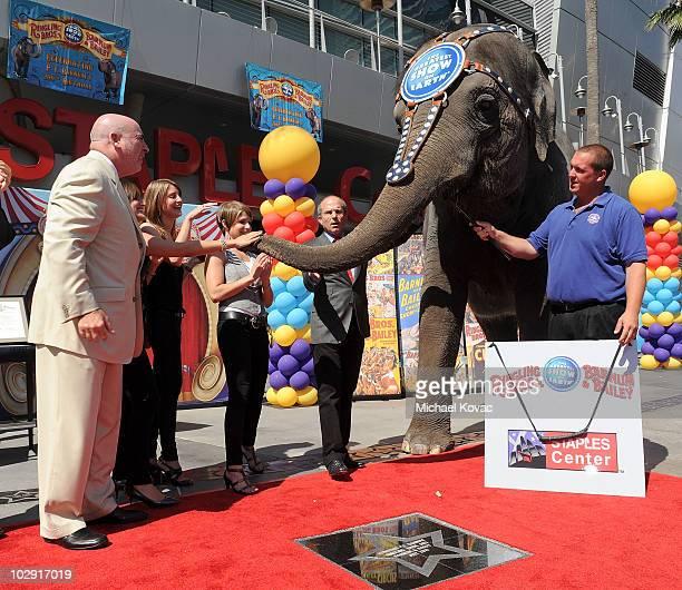 KellyAnne the Elephant unveils the star as STAPLE Center General Manager Lee Zeidman, Alana Feld, Nicole Feld, and Feld Entertainment CEO Kenneth...