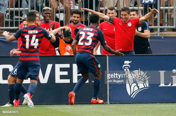 Kellyn Acosta of the United States celebrates after his goal in the second half during an international friendly between USA and Ghana at Pratt...