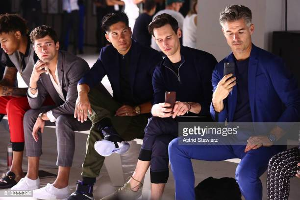 KellyÊOubre Sean O'Pry Chyno Miranda Cory Michael Smith and Eric Rutherford watch the EFM Engineered For Motion Spring/Summer 2018 Runway Show at...