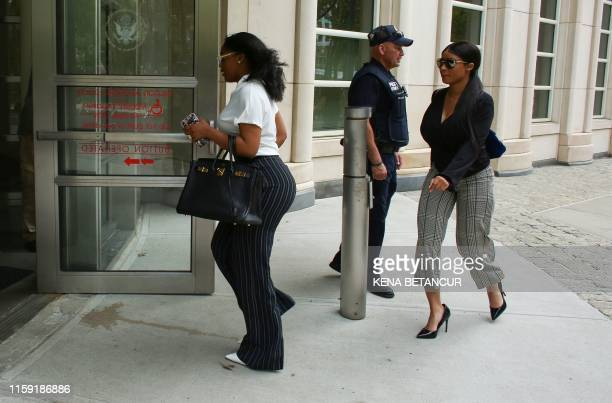 R Kelly's girlfriends Jocelyn Savage and Azriel Clary arrive for the second hearing in the racketeering and sex trafficking case of Kelly at Brooklyn...