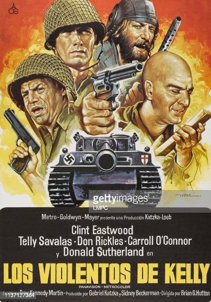 Kelly's Heroes poster lr Don Rickles Clint Eastwood Donald Sutherland Telly Savalas on Spanish poster art 1970