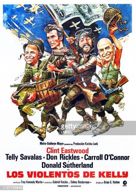 Kelly's Heroes poster poster illustrated by Jack Davis from left Don Rickles Clint Eastwood Donald Sutherland Telly Savalas 1970