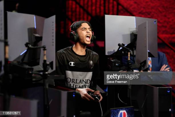 KelMav of Magic Gaming reacts against Raptors Uprising Gaming Club during Day Five of the NBA 2K League Tip Off Tournament on April 6 2019 at the NBA...