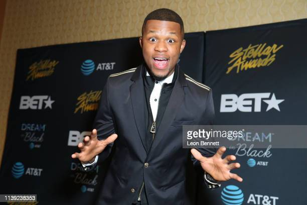 Kelontae Gavin poses in the press room at the 34th annual Stellar Gospel Music Awards at the Orleans Arena on March 29, 2019 in Las Vegas, Nevada.