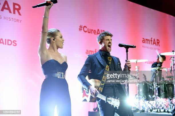 Kelsea Ballerini and Andrew Taggart of The Chainsmokers perform onstage during the amfAR New York Gala 2019 at Cipriani Wall Street on February 6...