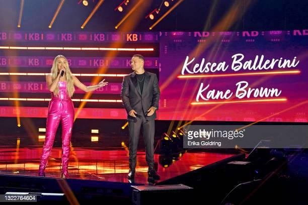 Kelsea Ballerini and Kane Brown speak onstage for the 2021 CMT Music Awards at Bridgestone Arena on June 09, 2021 in Nashville, Tennessee.