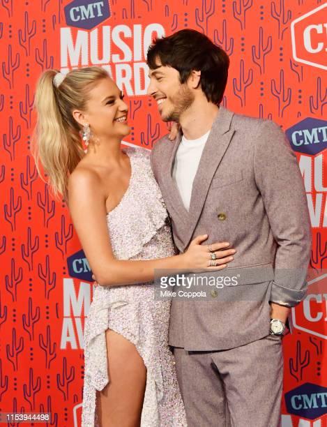 Kelsea Ballerini and Morgan Evans attend the 2019 CMT Music Award at Bridgestone Arena on June 05 2019 in Nashville Tennessee