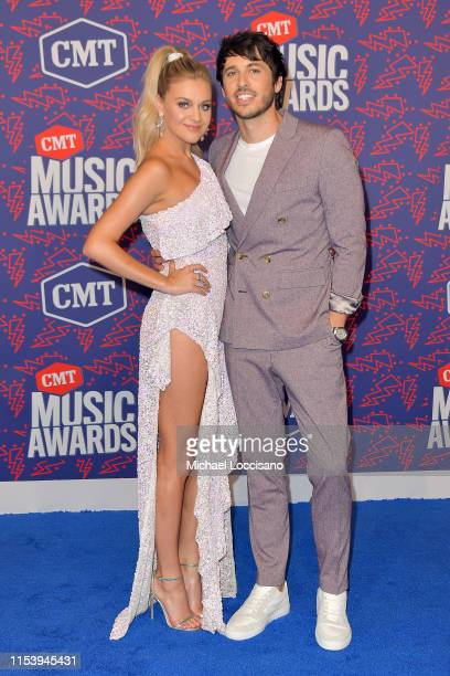 Kelsea Ballerini and Morgan Evans attend the 2019 CMT Music Awards at Bridgestone Arena on June 05 2019 in Nashville Tennessee