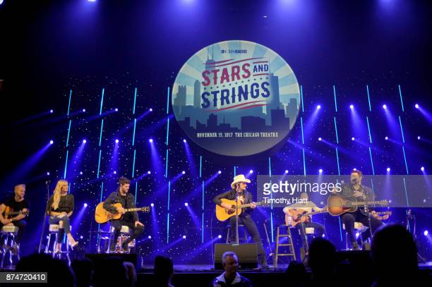 Kelsea Ballerini Brad Paisley and Chris Young perform onstage during CBS RADIO's Third Annual 'Stars and Strings' Concert to honor our nation's...