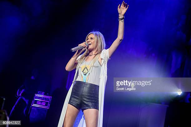 Kelsea Ballerini performs during the Rhythm and Roots Tour 2016 at DTE Energy Music Theater on September 15 2016 in Clarkston Michigan