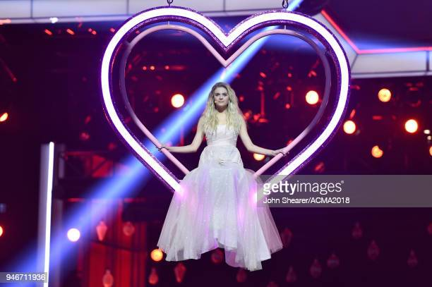 Kelsea Ballerini performs on stage at the 53rd Academy of Country Music Awards at MGM Grand Garden Arena on April 15 2018 in Las Vegas Nevada