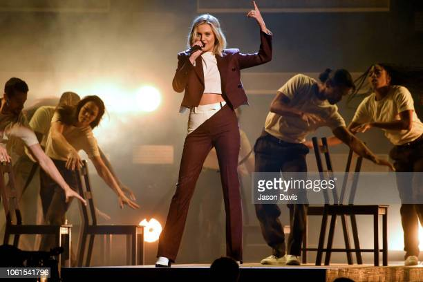 Kelsea Ballerini performs onstage during the 52nd annual CMA Awards at the Bridgestone Arena on November 14 2018 in Nashville Tennessee
