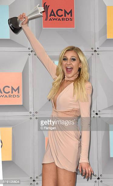Kelsea Ballerini poses backstage in the press room during the 51st Academy of Country Music Awards held at MGM Grand Garden Arena on April 3 2016 in...