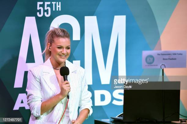 Kelsea Ballerini speaks during an interview at virtual radio row during the 55th Academy of Country Music Awards at Gaylord Opryland Resort &...