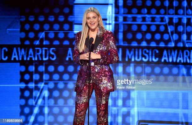 Kelsea Ballerini speaks onstage during the 2019 American Music Awards at Microsoft Theater on November 24 2019 in Los Angeles California