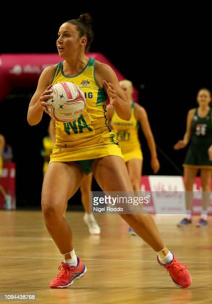 Kelsey Browne of Australia in action during the Vitality Netball International Series match between South Africa and Australian Diamonds as part of...