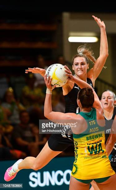 Kelsey Browne of the Diamonds looks to pass the ball despite the defence of Jane Watson of the Silver Ferns during the Constellation Cup match...