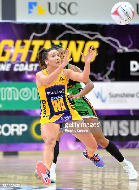 Kelsey Browne of the Lightning catches the ball during the round 12 Super Netball match between the Lightning and the Fever at University of the...