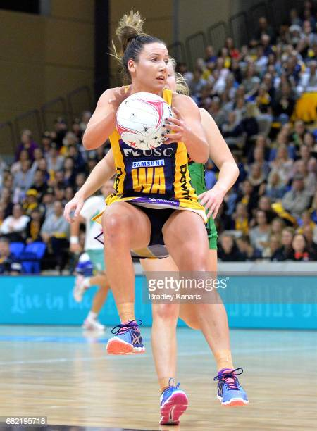 Kelsey Browne of the Lightning in action during the round 12 Super Netball match between the Lightning and the Fever at University of the Sunshine...