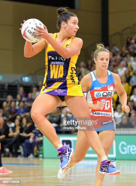 Kelsey Browne of the Lightning in action during the round 13 Super Netball match between the Lightning and the Swifts at University of the Sunshine...