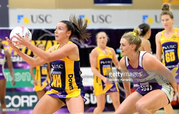 Kelsey Browne of the Lightning in action during the round seven Super Netball match between the Lightning and the Firebirds at University of the...