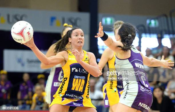 Kelsey Browne of the Lightning passes the ball during the round seven Super Netball match between the Lightning and the Firebirds at University of...