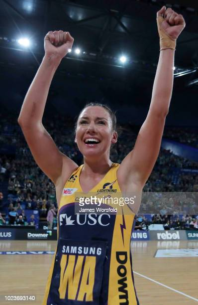 Kelsey Browne of the Sunshine Coast Lightning celebrates after their win at the Super Netball Grand Final match between the the Fever and the...