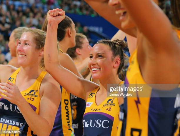 Kelsey Browne of the Sunshine Coast Lightning fist pumps to the crowd after their win during the Super Netball Grand Final match between the the...