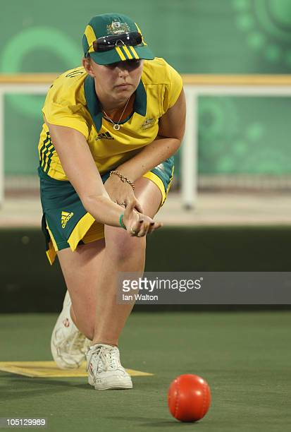 Kelsey Cottrell of Australia in action during the Women's Singles lawn bowls match against Niue at JN Sports Complex during day seven of the Delhi...