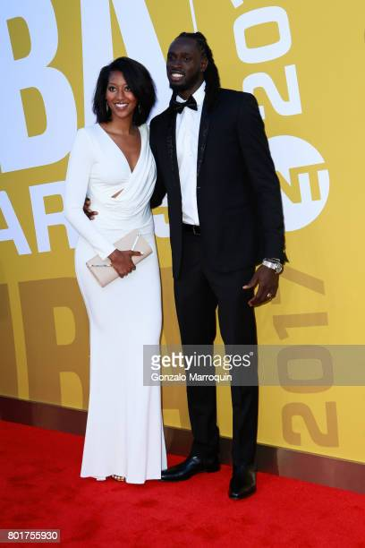 Kelsey Domiana and NBA player Maurice Ndour attends the 2017 NBA Awards at Basketball City Pier 36 South Street on June 26 2017 in New York City