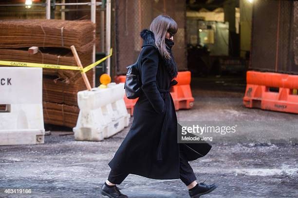 Kelsey Fairhurst of the CFDA wears a Calvin Klein jacket Dior Homme sunglasses Kara backpack OAK pants and Doc Marten boots at Streets of Manhattan...