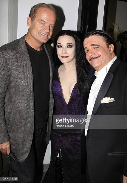 Kelsey Grammer and Bebe Neuwirth as Morticia Addams and Nathan Lane as Gomez Addams pose backstage at the hit new musical The Addams Family on...