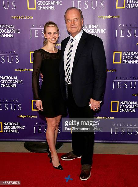 Kelsey Grammer and Kayte Walsh attend the red carpet event and world premiere of National Geographic Channel's 'Killing Jesus' at Alice Tully Hall on...