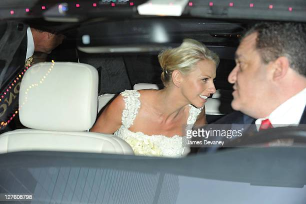 Kelsey Grammer and Kayte Walsh leave the Longacre Theatre in a white Mercedes after their wedding on February 25 2011 in New York City