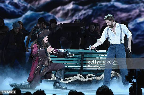 Kelsey Grammer and Matthew Morrison perform with the cast of 'Finding Neverland' onstage at the 2015 Tony Awards at Radio City Music Hall on June 7...