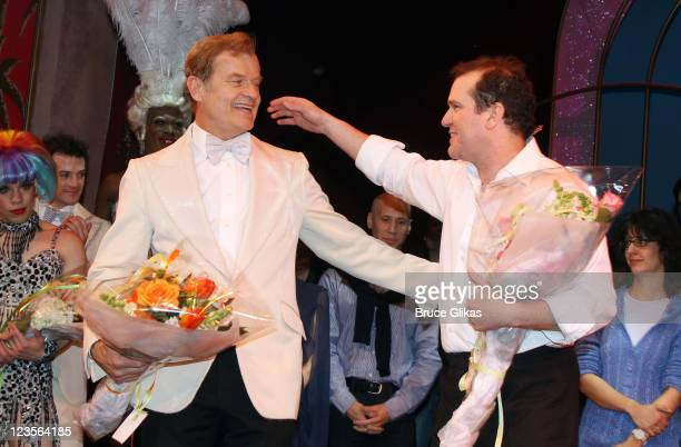 Kelsey Grammer and Tony Winner Douglas Hodge during the curtain call at Kelsey Grammer Douglas Hodge Robin De Jesus Fred Applegate's final...