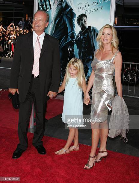 """Kelsey Grammer, Camille Donatacc and daughter, Mason Olivia attend the """"Harry Potter and the Half-Blood Prince"""" premiere at Ziegfeld Theatre on July..."""