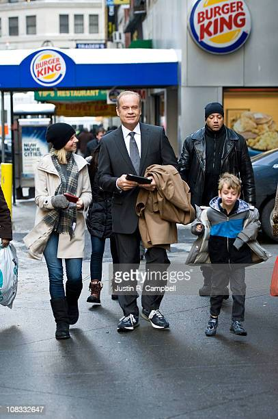 Kelsey Grammer with his son Jude Gordon and Kate Walsh walk to the set of his latest film I Don't Know How She Does It on January 25 2011 in New York...