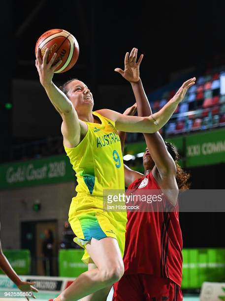 Kelsey Griffin of Australia drives to the basket during the womenÕs Pool A Basketball match between Australia and Mozambique on day two of the Gold...
