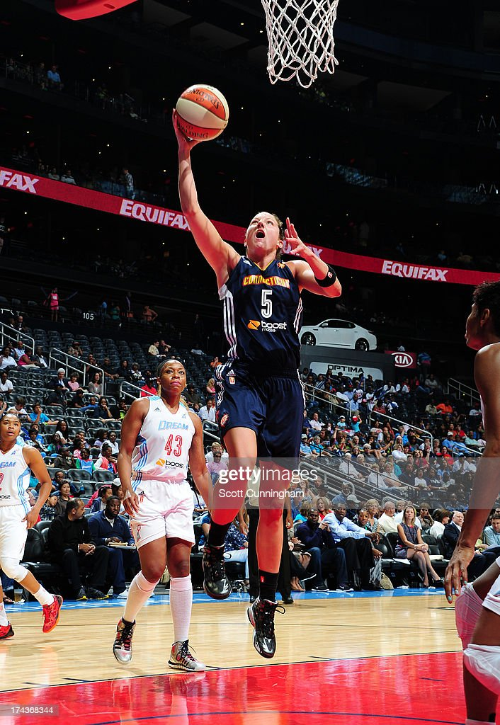 Kelsey Griffin #5 of the Connecticut Sun puts up a shot against the Atlanta Dream at Philips Arena on July 24, 2013 in Atlanta, Georgia.