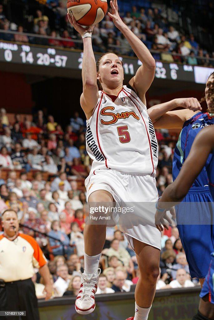Kelsey Griffin #5 of the Connecticut Sun shoots against the New York Liberty during the game on June 4, 2010 at Mohegan Sun Arena in Uncasville, Connecticut.