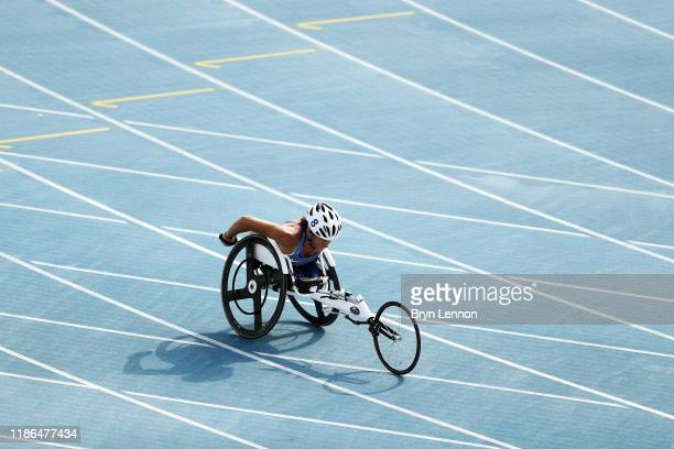 Kelsey Lefevour of the USA in action in the first round of the Women's 400m T53 on Day Three of the IPC World Para Athletics Championships 2019 Dubai...
