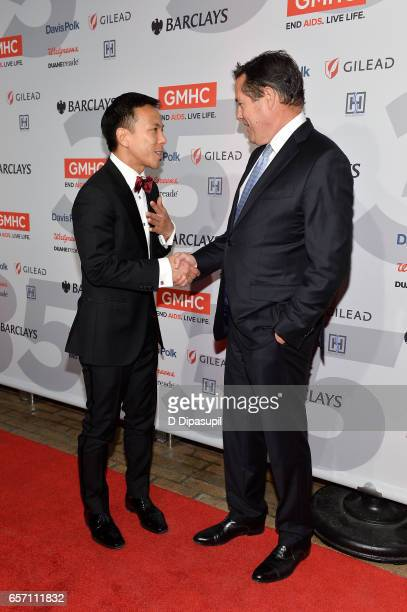 Kelsey Louie and Jes Staley attend the GMHC 35th Anniversary Spring Gala at Highline Stages on March 23 2017 in New York City